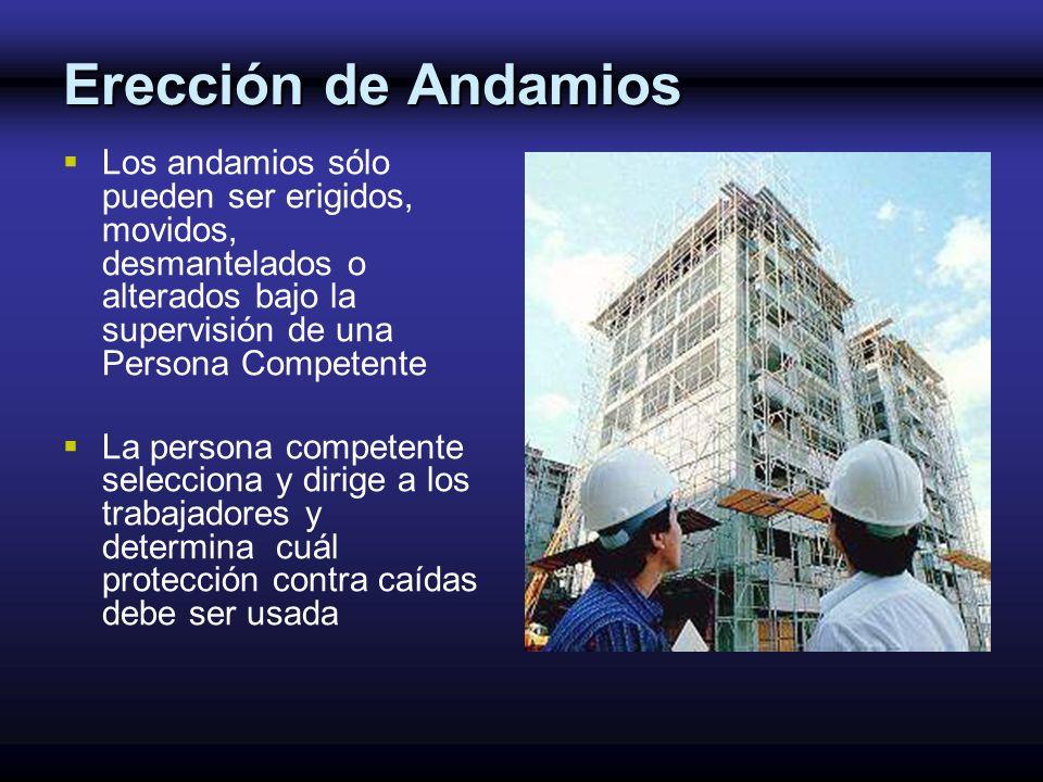 Erección de Andamios Los andamios sólo pueden ser erigidos, movidos, desmantelados o alterados bajo la supervisión de una Persona Competente La person