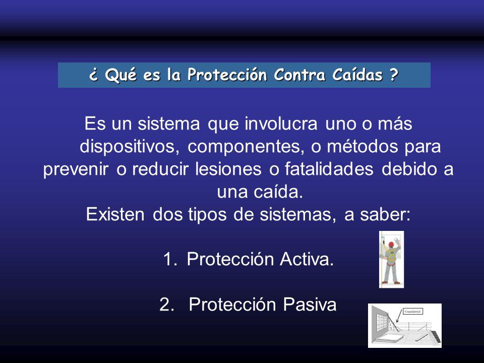 ¿ Qué es la Protección Contra Caídas ? Es un sistema que involucra uno o más dispositivos, componentes, o métodos para prevenir o reducir lesiones o f