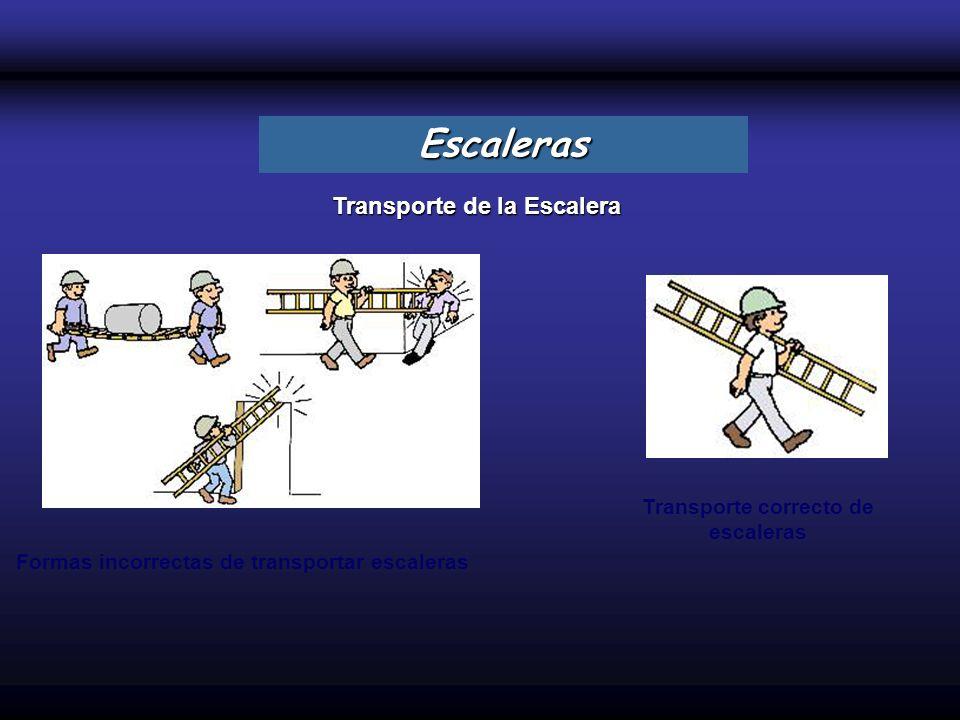 Transporte de la Escalera Escaleras Formas incorrectas de transportar escaleras Transporte correcto de escaleras