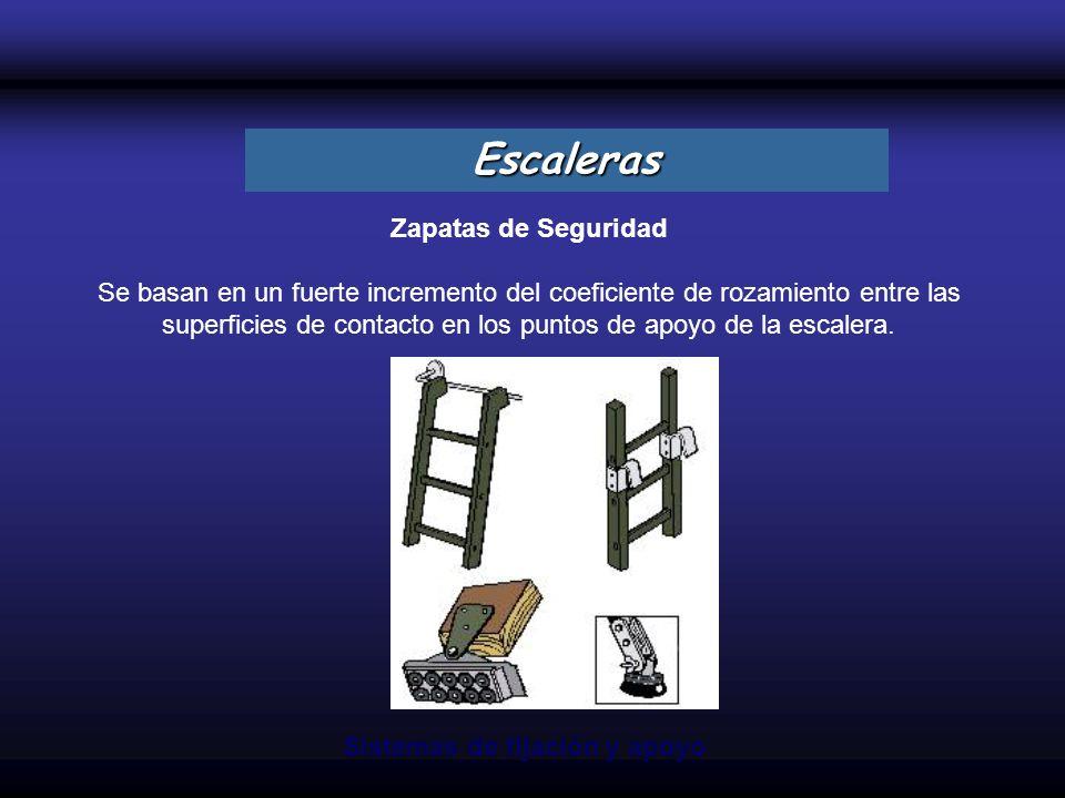 Zapatas de Seguridad Se basan en un fuerte incremento del coeficiente de rozamiento entre las superficies de contacto en los puntos de apoyo de la esc