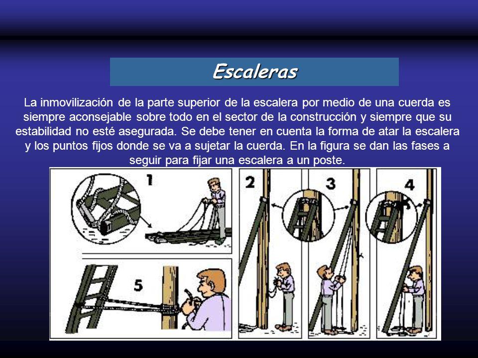 La inmovilización de la parte superior de la escalera por medio de una cuerda es siempre aconsejable sobre todo en el sector de la construcción y siem