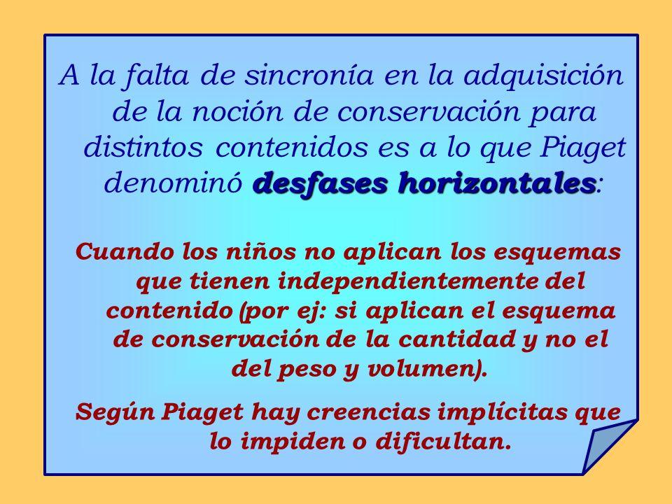 desfases horizontales A la falta de sincronía en la adquisición de la noción de conservación para distintos contenidos es a lo que Piaget denominó des