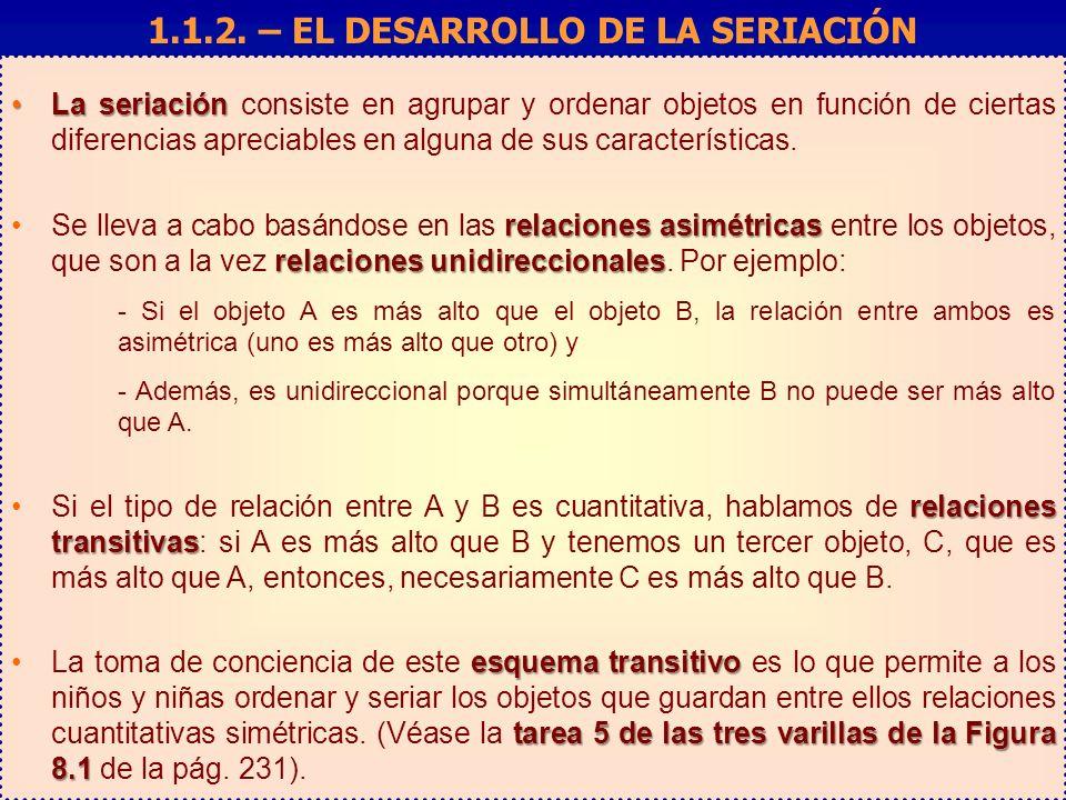 La seriaciónLa seriación consiste en agrupar y ordenar objetos en función de ciertas diferencias apreciables en alguna de sus características. relacio
