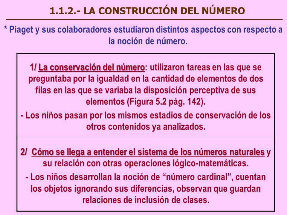 1.1.2.- LA CONSTRUCCIÓN DEL NÚMERO * Piaget y sus colaboradores estudiaron distintos aspectos con respecto a la noción de número. 1/ La conservación d
