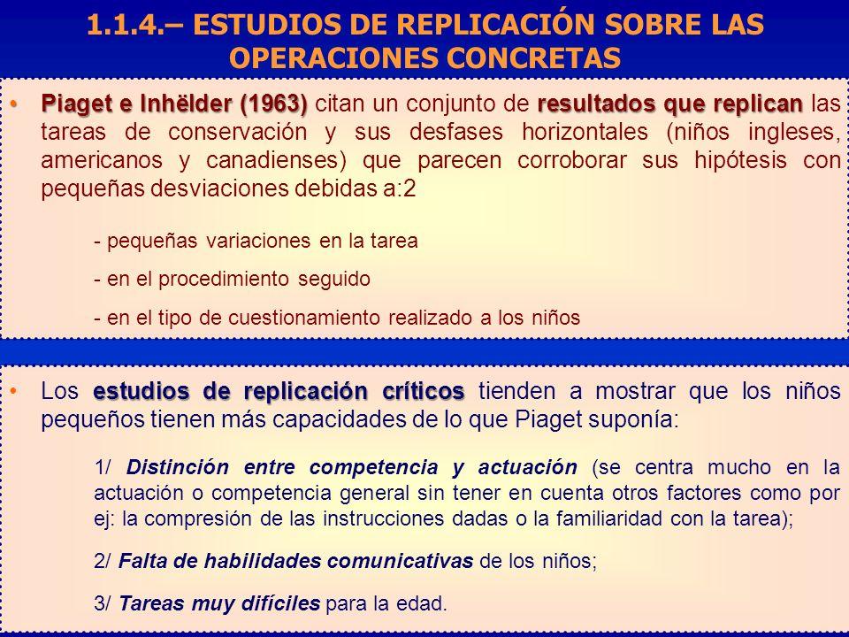 Piaget e Inhëlder (1963) resultados que replicanPiaget e Inhëlder (1963) citan un conjunto de resultados que replican las tareas de conservación y sus