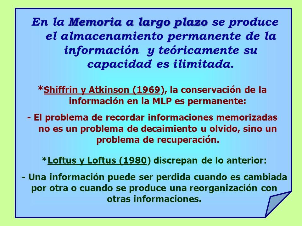 Memoria a largo plazo En la Memoria a largo plazo se produce el almacenamiento permanente de la información y teóricamente su capacidad es ilimitada.