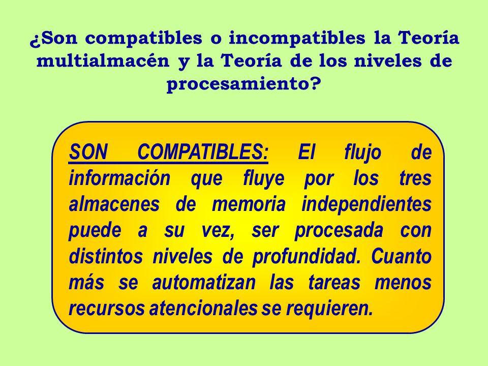 ¿Son compatibles o incompatibles la Teoría multialmacén y la Teoría de los niveles de procesamiento? SON COMPATIBLES: El flujo de información que fluy