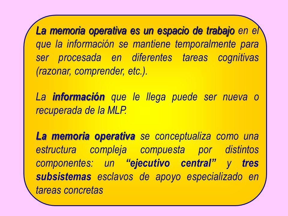 La memoria operativa es un espacio de trabajo La memoria operativa es un espacio de trabajo en el que la información se mantiene temporalmente para se