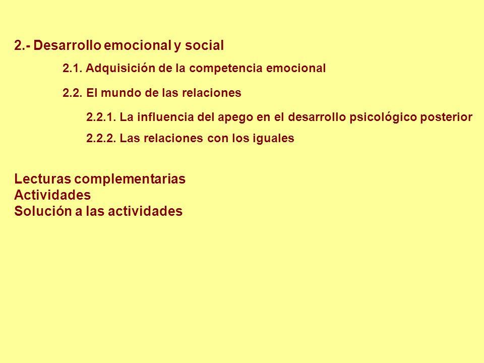 2.- Desarrollo emocional y social 2.1. Adquisición de la competencia emocional 2.2. El mundo de las relaciones 2.2.1. La influencia del apego en el de