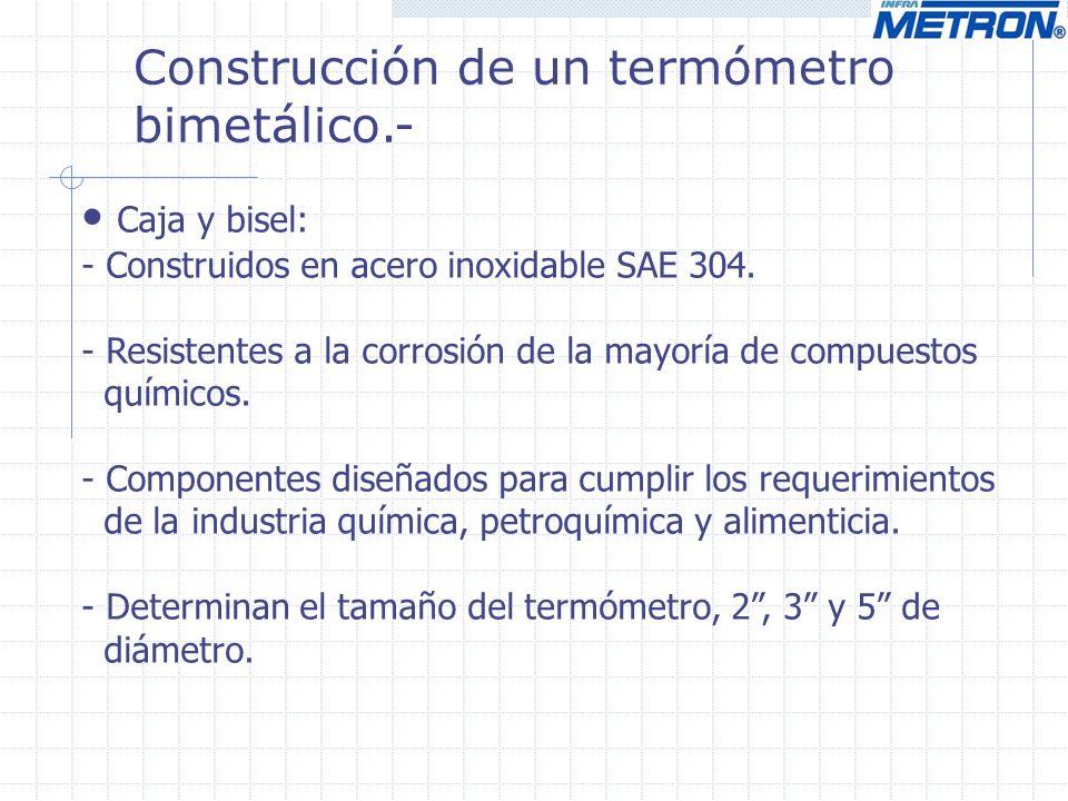 Construcción de un termómetro bimetálico.- Caja y bisel: - Construidos en acero inoxidable SAE 304. - Resistentes a la corrosión de la mayoría de comp