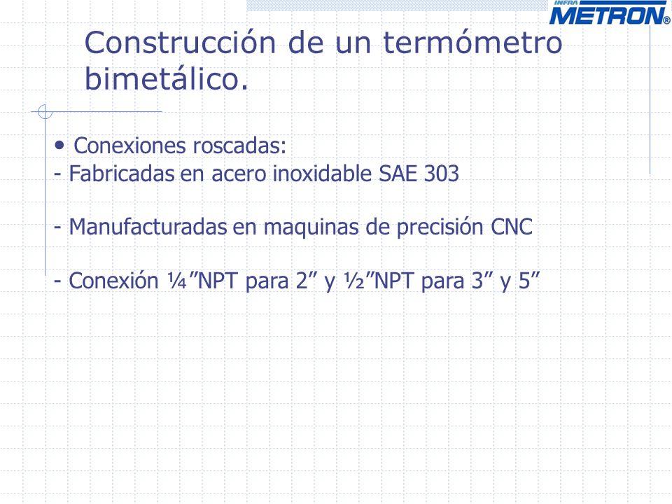 Conexiones roscadas: - Fabricadas en acero inoxidable SAE 303 - Manufacturadas en maquinas de precisión CNC - Conexión ¼NPT para 2 y ½NPT para 3 y 5 Construcción de un termómetro bimetálico.