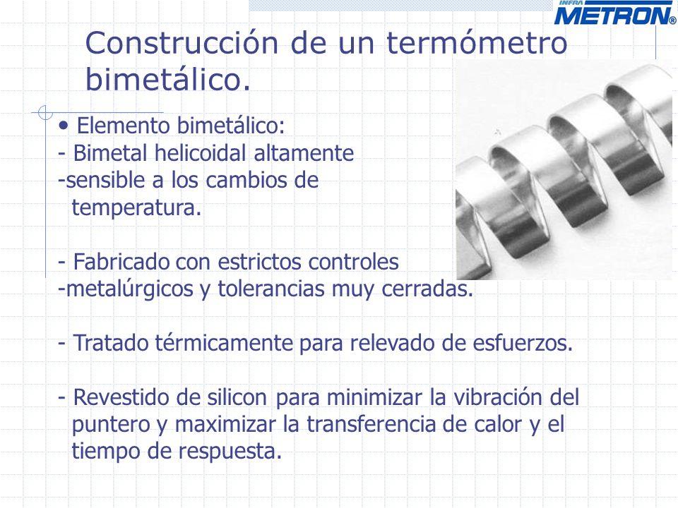 Construcción de un termómetro bimetálico. Elemento bimetálico: - Bimetal helicoidal altamente -sensible a los cambios de temperatura. - Fabricado con