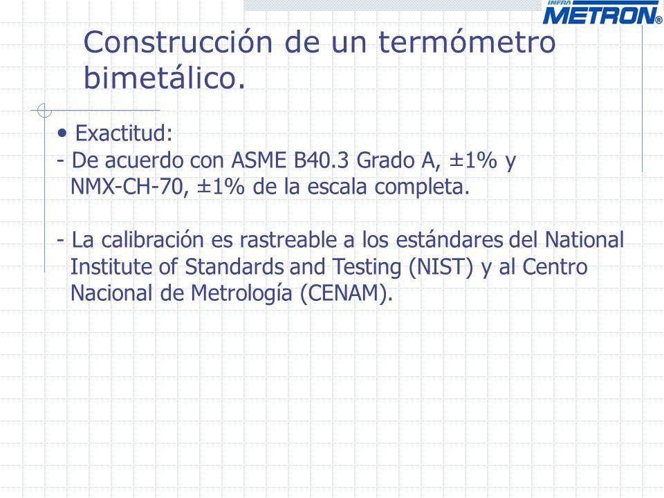 Construcción de un termómetro bimetálico. Exactitud: - De acuerdo con ASME B40.3 Grado A, ±1% y NMX-CH-70, ±1% de la escala completa. - La calibración
