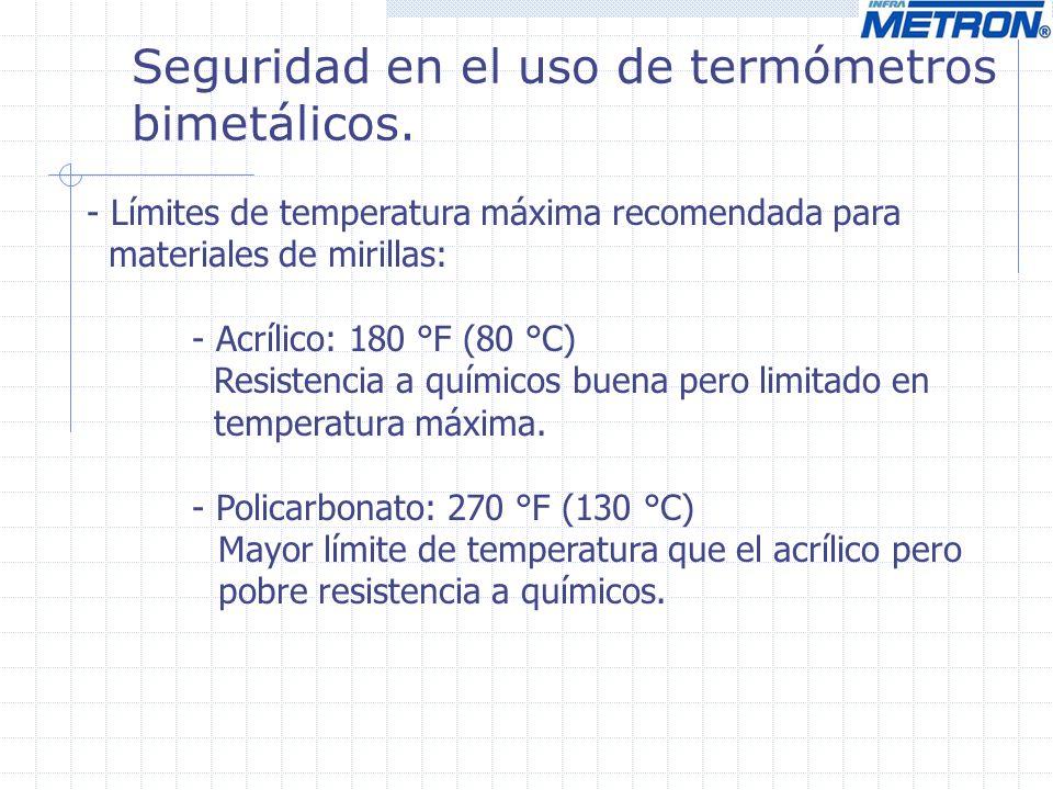 Seguridad en el uso de termómetros bimetálicos. - Límites de temperatura máxima recomendada para materiales de mirillas: - Acrílico: 180 °F (80 °C) Re