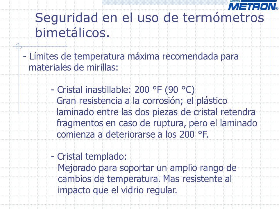 Seguridad en el uso de termómetros bimetálicos. - Límites de temperatura máxima recomendada para materiales de mirillas: - Cristal inastillable: 200 °
