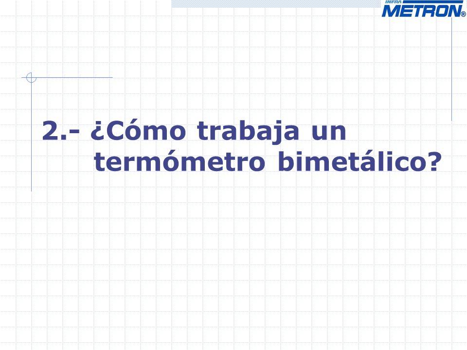2.- ¿Cómo trabaja un termómetro bimetálico?