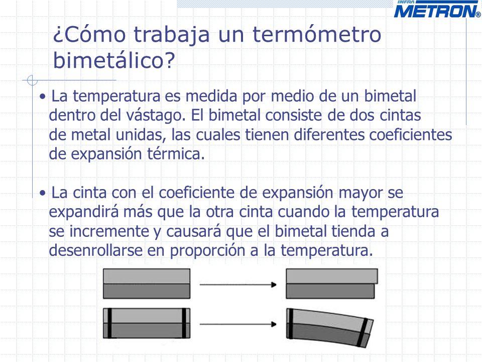¿Cómo trabaja un termómetro bimetálico? La temperatura es medida por medio de un bimetal dentro del vástago. El bimetal consiste de dos cintas de meta