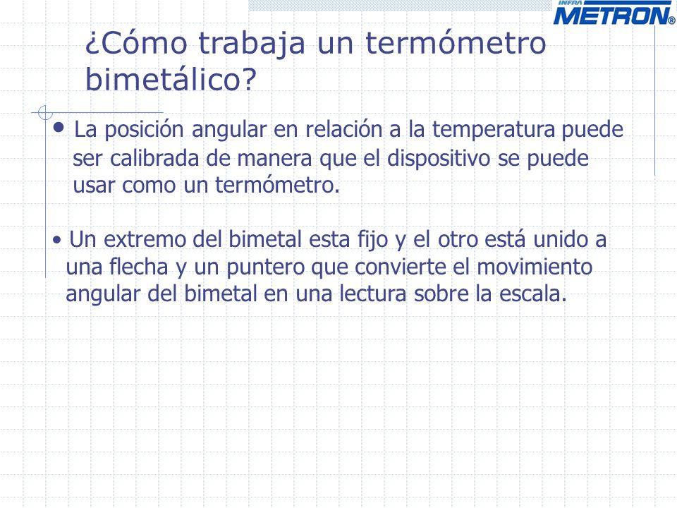 ¿Cómo trabaja un termómetro bimetálico? La posición angular en relación a la temperatura puede ser calibrada de manera que el dispositivo se puede usa