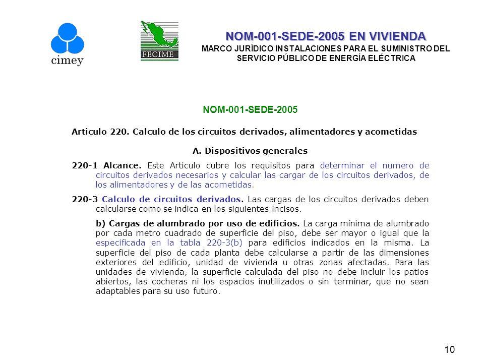 10 NOM-001-SEDE-2005 EN VIVIENDA NOM-001-SEDE-2005 EN VIVIENDA MARCO JURÍDICO INSTALACIONES PARA EL SUMINISTRO DEL SERVICIO PÚBLICO DE ENERGÍA ELÉCTRI