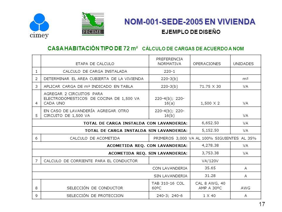 17 NOM-001-SEDE-2005 EN VIVIENDA NOM-001-SEDE-2005 EN VIVIENDA EJEMPLO DE DISEÑO CASA HABITACIÓN TIPO DE 72 m² CÁLCULO DE CARGAS DE ACUERDO A NOM ETAP