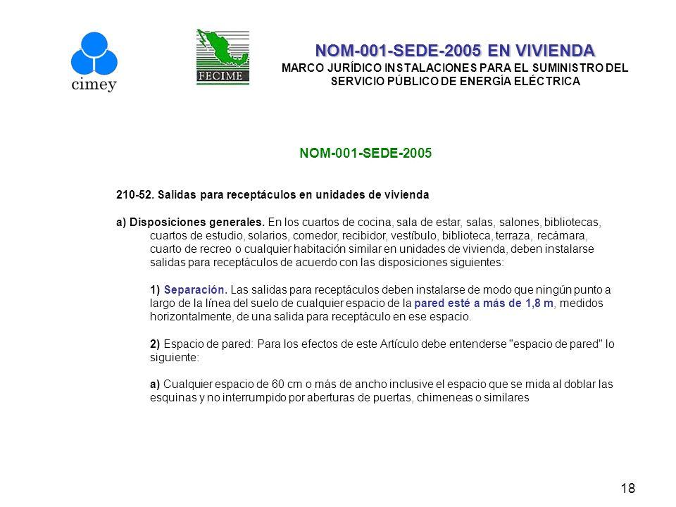 18 NOM-001-SEDE-2005 EN VIVIENDA NOM-001-SEDE-2005 EN VIVIENDA MARCO JURÍDICO INSTALACIONES PARA EL SUMINISTRO DEL SERVICIO PÚBLICO DE ENERGÍA ELÉCTRI