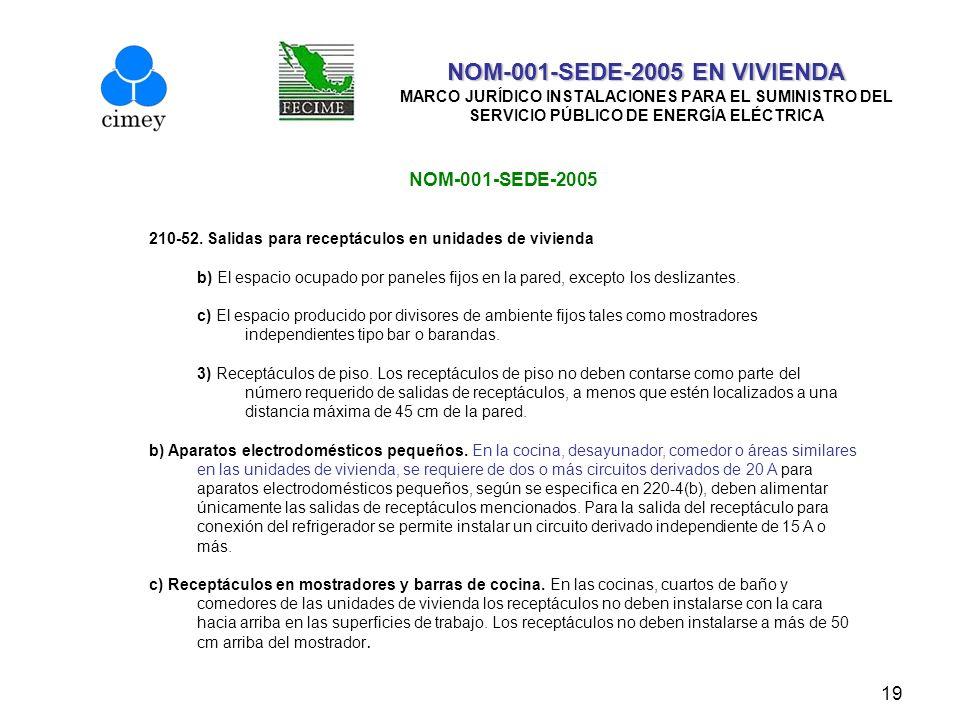 19 NOM-001-SEDE-2005 EN VIVIENDA NOM-001-SEDE-2005 EN VIVIENDA MARCO JURÍDICO INSTALACIONES PARA EL SUMINISTRO DEL SERVICIO PÚBLICO DE ENERGÍA ELÉCTRI