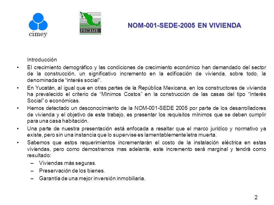 13 NOM-001-SEDE-2005 EN VIVIENDA NOM-001-SEDE-2005 EN VIVIENDA MARCO JURÍDICO INSTALACIONES PARA EL SUMINISTRO DEL SERVICIO PÚBLICO DE ENERGÍA ELÉCTRICA NOM-001-SEDE-2005 TABLA 220-11.- Factores de demanda de cargas de alumbrado no se aplica para el cálculo del número de circuitos derivados (220-11).