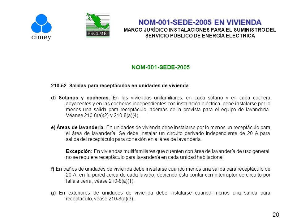 20 NOM-001-SEDE-2005 EN VIVIENDA NOM-001-SEDE-2005 EN VIVIENDA MARCO JURÍDICO INSTALACIONES PARA EL SUMINISTRO DEL SERVICIO PÚBLICO DE ENERGÍA ELÉCTRI