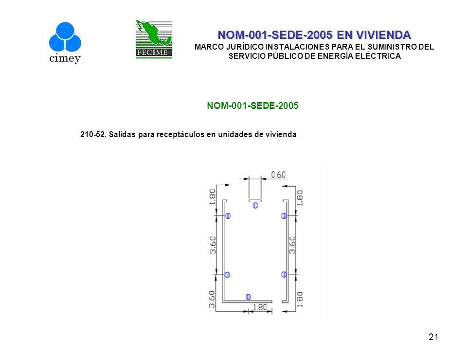 21 NOM-001-SEDE-2005 EN VIVIENDA NOM-001-SEDE-2005 EN VIVIENDA MARCO JURÍDICO INSTALACIONES PARA EL SUMINISTRO DEL SERVICIO PÚBLICO DE ENERGÍA ELÉCTRI
