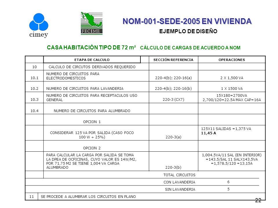 22 NOM-001-SEDE-2005 EN VIVIENDA NOM-001-SEDE-2005 EN VIVIENDA EJEMPLO DE DISEÑO CASA HABITACIÓN TIPO DE 72 m² CÁLCULO DE CARGAS DE ACUERDO A NOM ETAP
