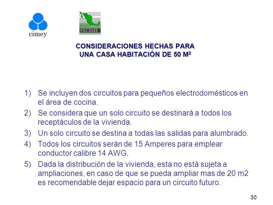CONSIDERACIONES HECHAS PARA UNA CASA HABITACIÓN DE 50 M 2 1)Se incluyen dos circuitos para pequeños electrodomésticos en el área de cocina. 2)Se consi
