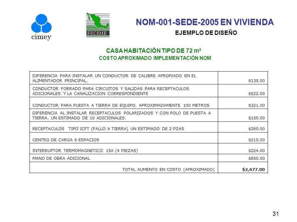 31 CASA HABITACIÓN TIPO DE 72 m² COSTO APROXIMADO IMPLEMENTACIÓN NOM NOM-001-SEDE-2005 EN VIVIENDA NOM-001-SEDE-2005 EN VIVIENDA EJEMPLO DE DISEÑO DIF