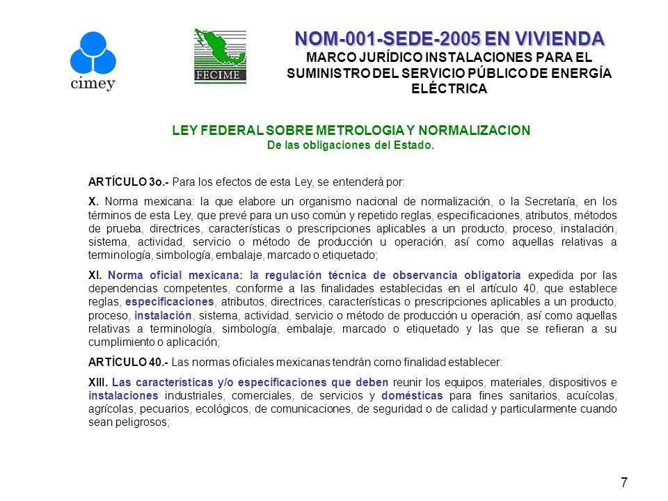 8 NOM-001-SEDE-2005 EN VIVIENDA NOM-001-SEDE-2005 EN VIVIENDA MARCO JURÍDICO INSTALACIONES PARA EL SUMINISTRO DEL SERVICIO PÚBLICO DE ENERGÍA ELÉCTRICA LEY DEL SERVICIO PÚBLICO DE ENERGÍA ELÉCTRICA CAPITULO V Del suministro de Energía Eléctrica.