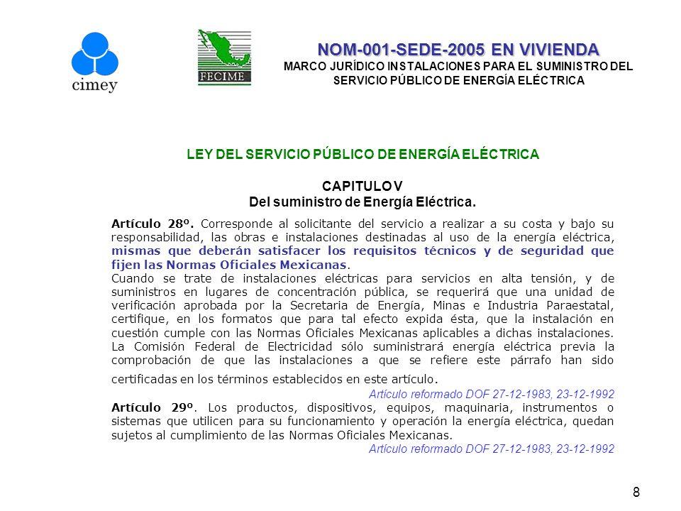8 NOM-001-SEDE-2005 EN VIVIENDA NOM-001-SEDE-2005 EN VIVIENDA MARCO JURÍDICO INSTALACIONES PARA EL SUMINISTRO DEL SERVICIO PÚBLICO DE ENERGÍA ELÉCTRIC