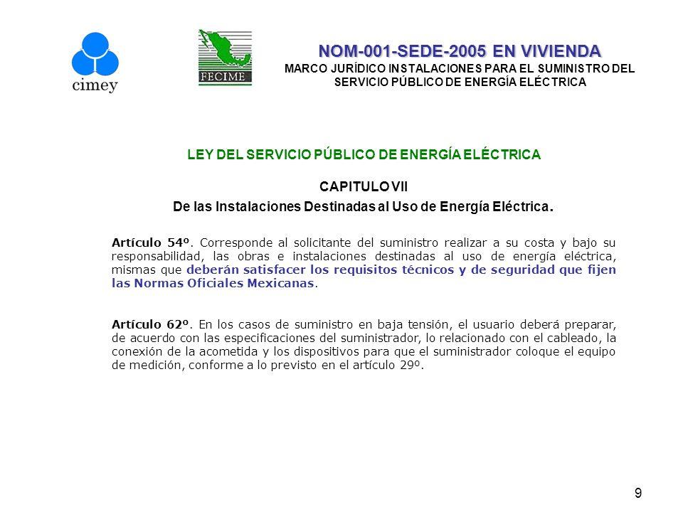 9 NOM-001-SEDE-2005 EN VIVIENDA NOM-001-SEDE-2005 EN VIVIENDA MARCO JURÍDICO INSTALACIONES PARA EL SUMINISTRO DEL SERVICIO PÚBLICO DE ENERGÍA ELÉCTRIC