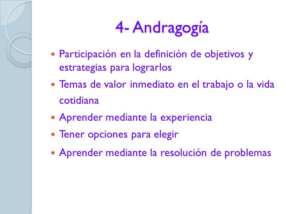 4- Andragogía pedagogía versus andragogía motivaciones del adulto para el aprendizaje (necesidad interna y exigencias externas) resistencia a ser enseñado/a y al cambio