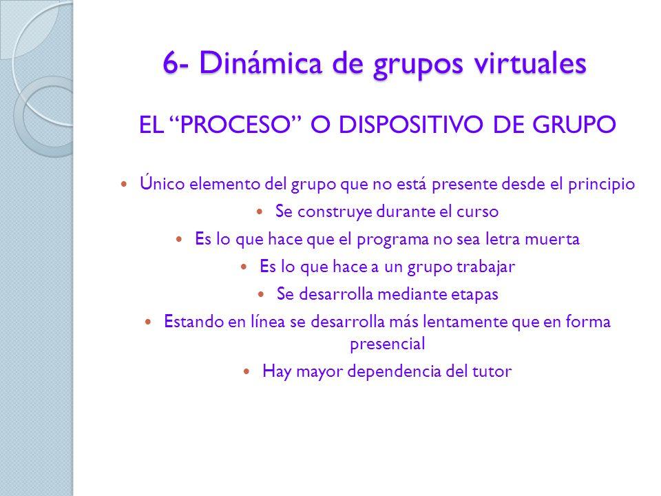6- Dinámica de grupos virtuales PROYECTO: los objetivos y contenidos del curso PROCEDIMIENTOS: recursos, métodos y técnicas para realizar el aprendiza