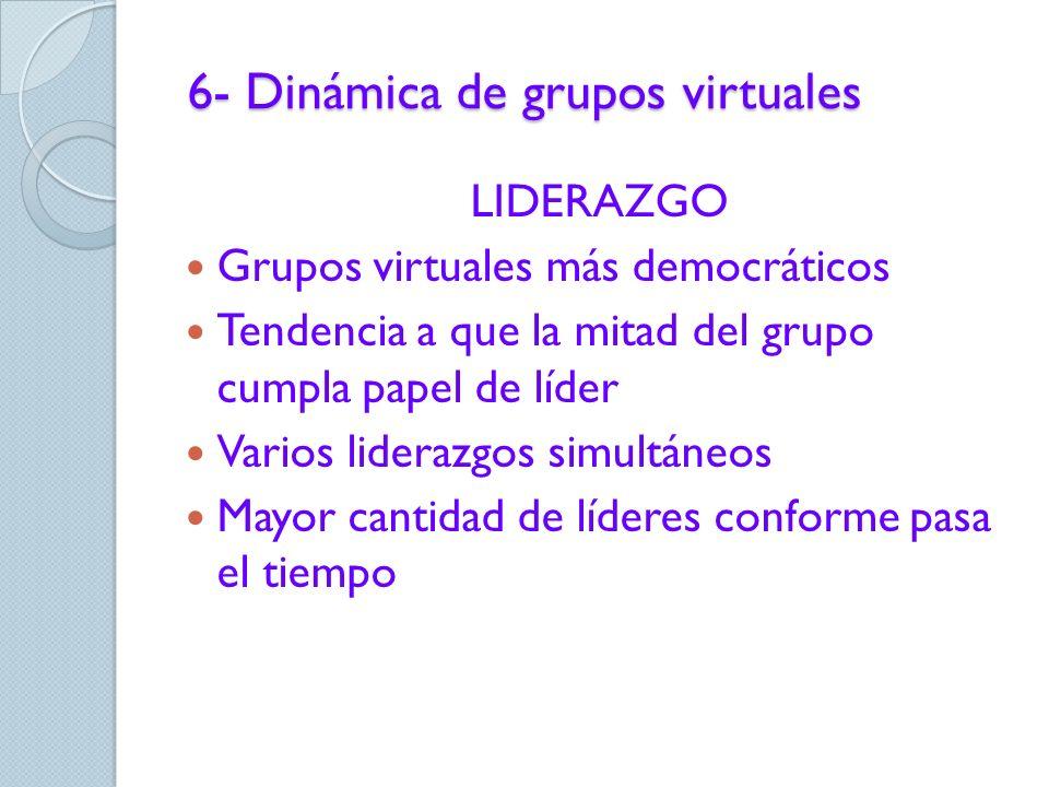 6- Dinámica de grupos virtuales 1. Acceso e información 2. Estilo de comunicación 3. Individuación 4. Intercambio 5. Dispositivo grupal