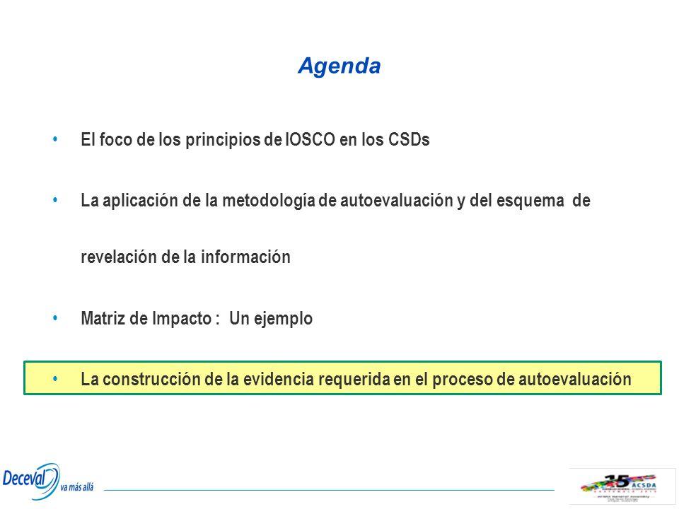 Agenda El foco de los principios de IOSCO en los CSDs La aplicación de la metodología de autoevaluación y del esquema de revelación de la información