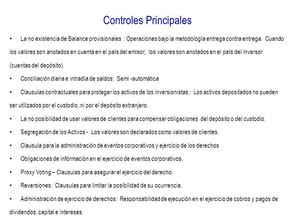 Controles Principales La no existencia de Balance provisionales : Operaciones bajo la metodología entrega contra entrega. Cuando los valores son anota