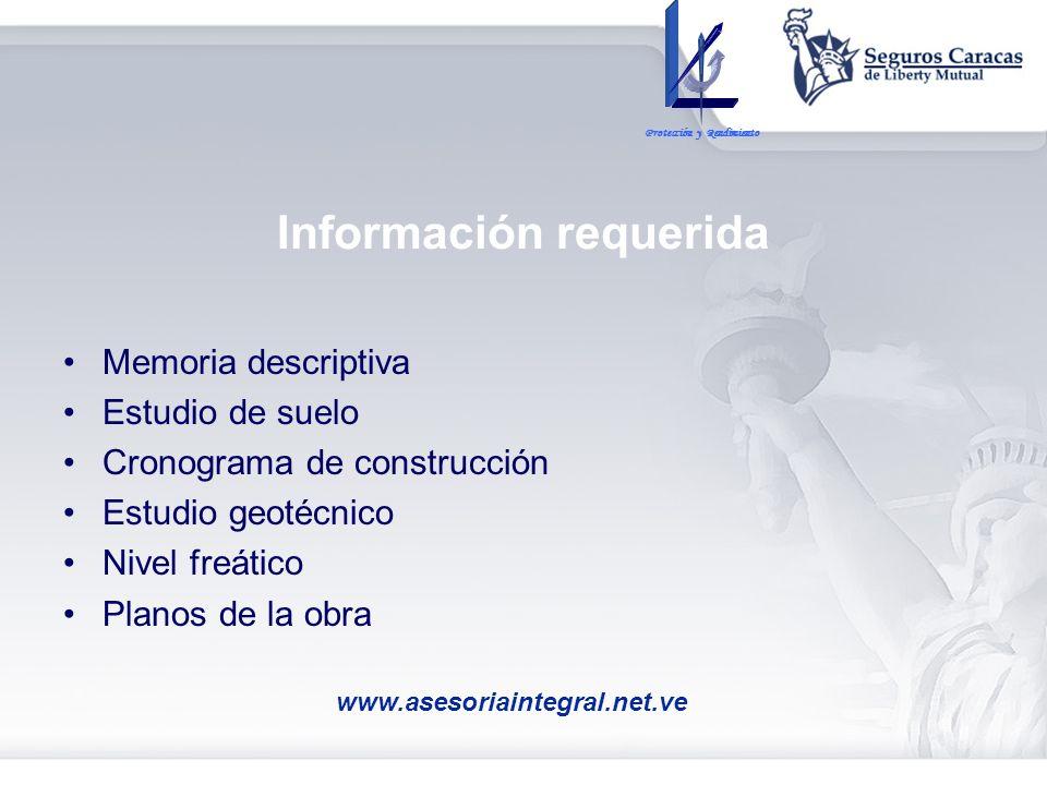 Información requerida Memoria descriptiva Estudio de suelo Cronograma de construcción Estudio geotécnico Nivel freático Planos de la obra Protección y