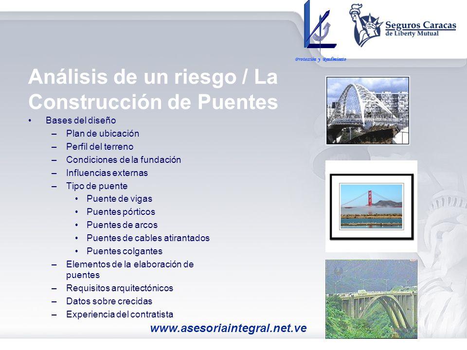 Análisis de un riesgo / La Construcción de Puentes Bases del diseño –Plan de ubicación –Perfil del terreno –Condiciones de la fundación –Influencias e