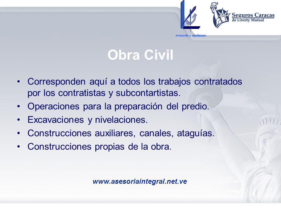 Obra Civil Corresponden aquí a todos los trabajos contratados por los contratistas y subcontartistas. Operaciones para la preparación del predio. Exca