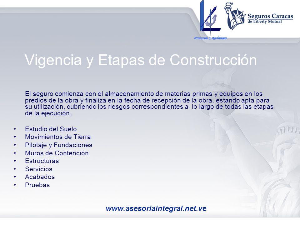 Vigencia y Etapas de Construcción El seguro comienza con el almacenamiento de materias primas y equipos en los predios de la obra y finaliza en la fec