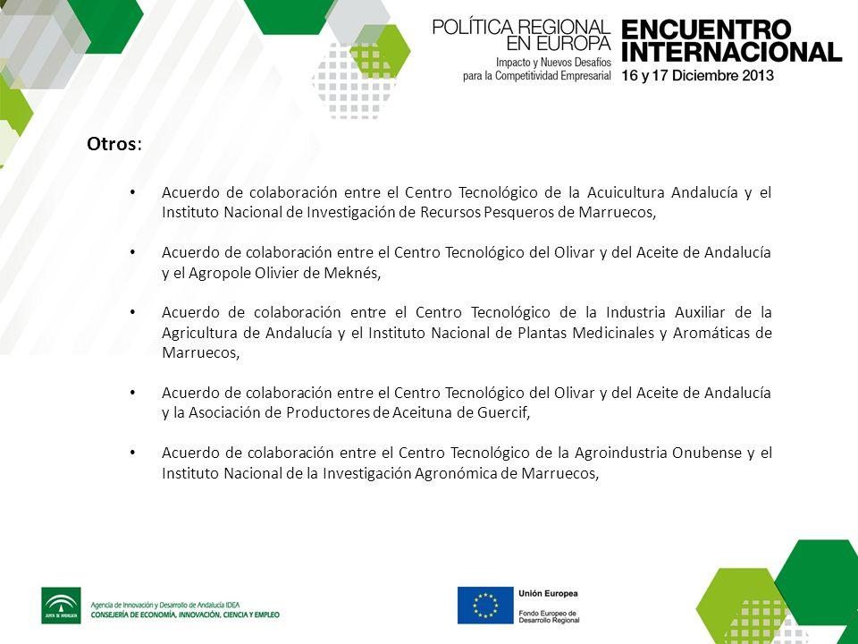 Otros: Acuerdo de colaboración entre el Centro Tecnológico de la Acuicultura Andalucía y el Instituto Nacional de Investigación de Recursos Pesqueros