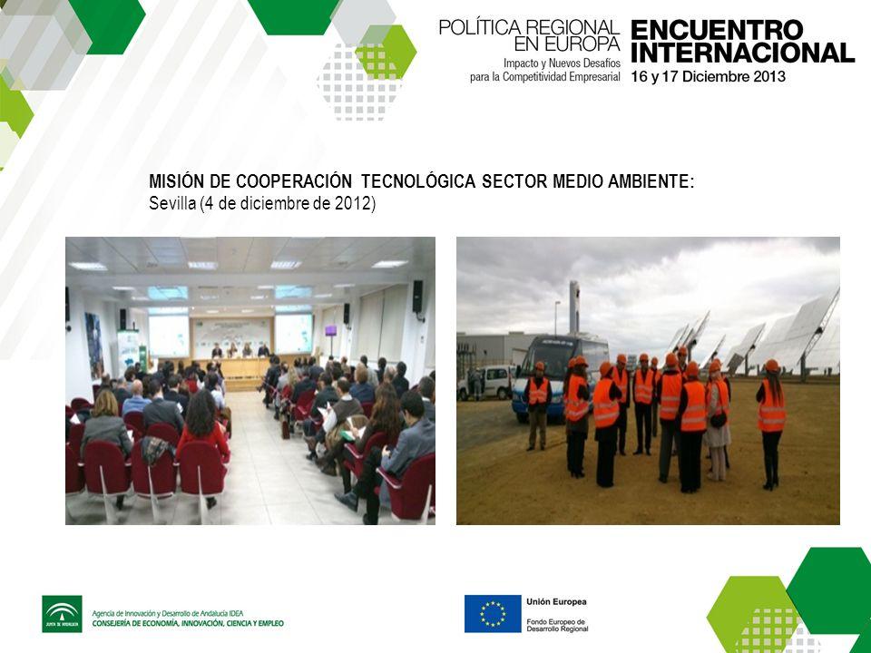 MISIÓN DE COOPERACIÓN TECNOLÓGICA SECTOR MEDIO AMBIENTE: Sevilla (4 de diciembre de 2012)