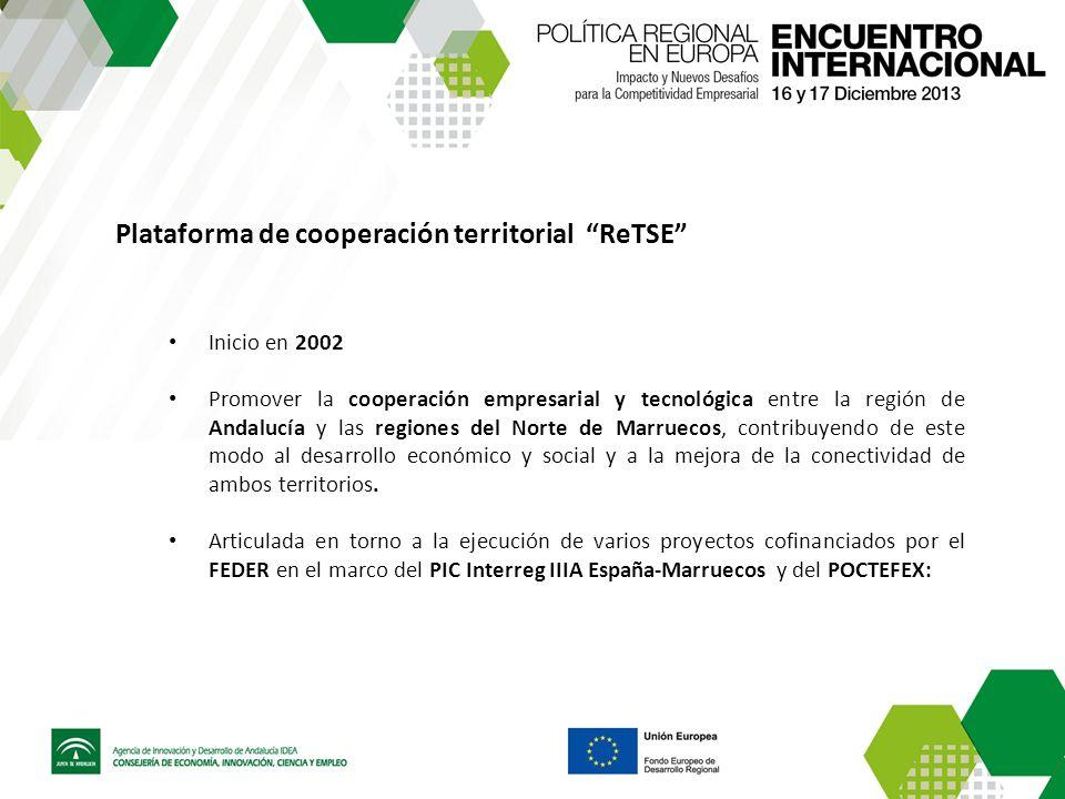 Plataforma de cooperación territorial ReTSE Inicio en 2002 Promover la cooperación empresarial y tecnológica entre la región de Andalucía y las region