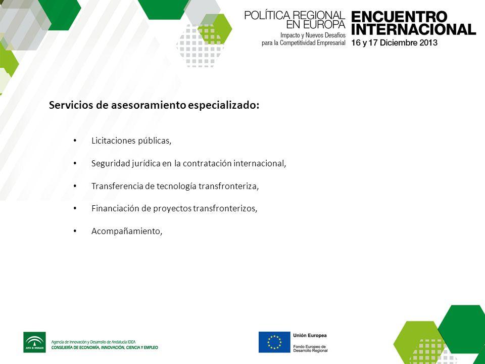 Servicios de asesoramiento especializado: Licitaciones públicas, Seguridad jurídica en la contratación internacional, Transferencia de tecnología transfronteriza, Financiación de proyectos transfronterizos, Acompañamiento,