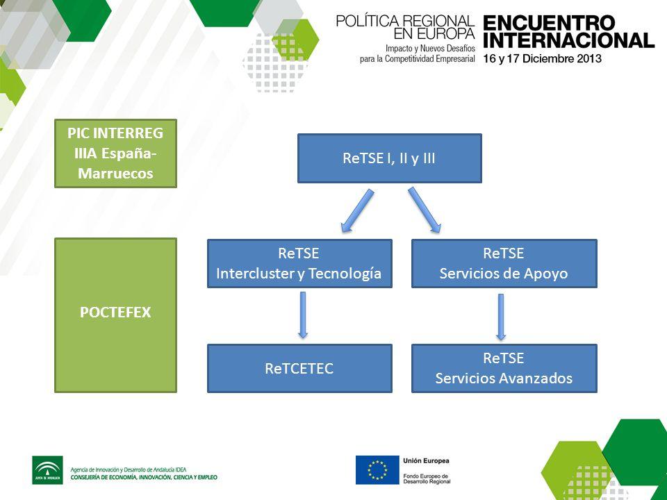 ReTSE I, II y III ReTSE Intercluster y Tecnología ReTSE Servicios de Apoyo ReTCETEC ReTSE Servicios Avanzados PIC INTERREG IIIA España- Marruecos POCTEFEX