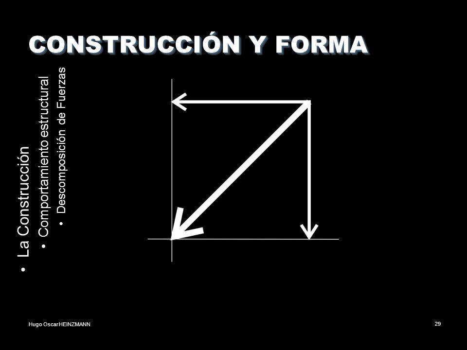 Hugo Oscar HEINZMANN29 CONSTRUCCIÓN Y FORMA La Construcción Comportamiento estructural Descomposición de Fuerzas